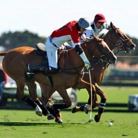 Audi's Nico Pieres keeps control of the ball against Villa del Lago's Guille Aguero