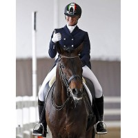 Rizzo gives the thumbs-up after her test on Donnerbube 2 at the Wellington Classic Dressage Spring Challenge CDI3*