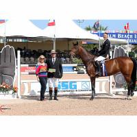 Kalvin Dobbs, mounted on Winde, won $2,000 in bonus money after winning the $10,000 High Junior Jumper Classic