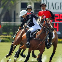 Audi's Gonzalito Pieres leaning out of the saddle and reaching back to keep possession of the ball with Alegria's Mariano Aguerre trying to defend his brother-in-law
