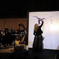 Josee Nadeau painting live to the Salt Lake City Symphony Orchestra