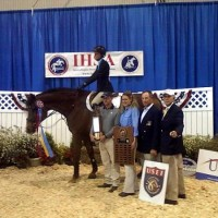 USEF/Cacchione Cup winner Cori Reich with her Centenary coaches Michael Dowling, Heather Clark, Olympian Peter Leone, IHSA Executive Director Bob Cacchione. Photo by Rich Ormonowski