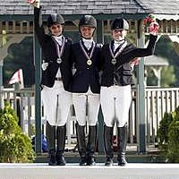 Dressage Junior Freestyle Medalists: Naima Moreira Laliberte (CAN) - Silver; Laurence Blais Tetreault (CAN) - Gold; Barbara Davis (REG 1) - Bronze (SusanJStickle.com)