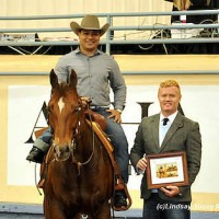 Brad Ettleman at the 2013 AQHA World Reining Championships. Brad stands with Para-Dressage rider Freddie Win after the Para-Reining Demonstration.