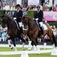 Michael Klimke and Christoph Koschel performed a pas de deux sponsored by John and Leslie Malone. Dressage letters and jump standards at the event carried the names of new COTA sponsors Gardy Bloemers & Nick Duke.
