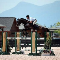 Derek Petersen and Forgiven competing in the $5,000 Suncast® 1.45m Welcome Stake