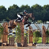 Vale and E.S. Finou 4 fly over an oxer in last night's $35,000 Classic Company Grand Prix.